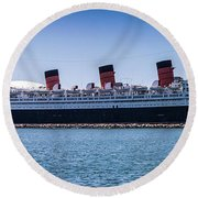 Panorama Of The Queen Mary Round Beach Towel