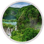Panorama Of Turquoise Lakes And Waterfalls - A Dramatic View, Plitivice Lakes National Park Croatia Round Beach Towel