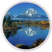 Panorama Oxbow Bend Grand Tetons National Park Wyoming Round Beach Towel