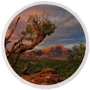 Panorama Storm Back Of Zion Near Hurricane Utah Round Beach Towel