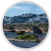 Panorama View Of An Icelandic Mountain Range Round Beach Towel by Joe Belanger