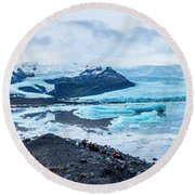 Panorama View Of Icland's Secret Lagoon Round Beach Towel