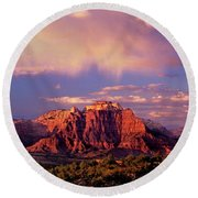 Panorama West Temple At Sunset Zion Natonal Park Round Beach Towel