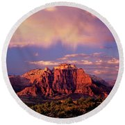 Round Beach Towel featuring the photograph Panorama West Temple At Sunset Zion Natonal Park by Dave Welling