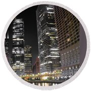Panoramic Lakefront View In Chicago Round Beach Towel by Frozen in Time Fine Art Photography
