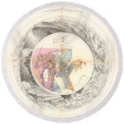 Panoramic Map Of Washoe, Nevada - Carte Panoramique - Historic Map - Old Atlas - Geological Chart Round Beach Towel