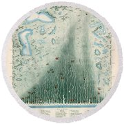 Panoramic Plan Of The Principal Rivers And Lakes - Historical Chart Round Beach Towel