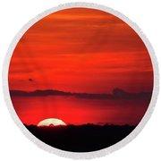 Panoramic Sunset Round Beach Towel