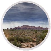 Panoramic View At Arches National Park Round Beach Towel