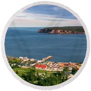 Round Beach Towel featuring the photograph Panoramic View In Perce Quebec by Elena Elisseeva