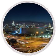 Panoramic View Of Busy Austin Texas Downtown Round Beach Towel