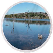Panoramic View Of Large Lake With Grass On The Shore Round Beach Towel