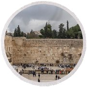 Panoramic View Of The Wailing Wall In The Old City Of Jerusalem Round Beach Towel