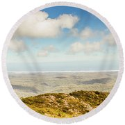 Panoramic Views From Mount Zeehan To Trial Harbour Round Beach Towel