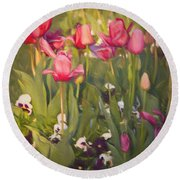 Pansies And Tulips Round Beach Towel by Lana Trussell