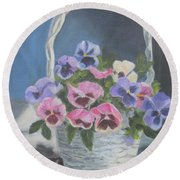 Pansies For A Friend Round Beach Towel