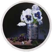Pansies In A Can Round Beach Towel