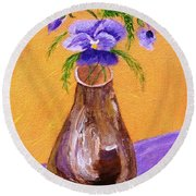 Pansies In Brown Vase Round Beach Towel