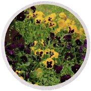 Round Beach Towel featuring the photograph Pansies by Kim Henderson