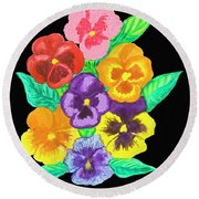 Pansies On Black Round Beach Towel