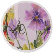 Pansies On My Porch Round Beach Towel by Mary Ellen Mueller Legault