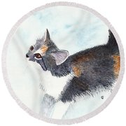 Calico Barn Cat Watercolor Round Beach Towel