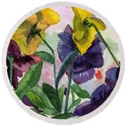 Pansy Field Round Beach Towel