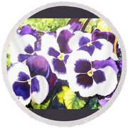 Pansy Party Round Beach Towel