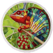 Panther Chameleon Round Beach Towel