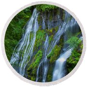 Panther Creek Falls Summer Waterfall 1 Round Beach Towel