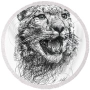 Leopard Round Beach Towel by Michael  Volpicelli