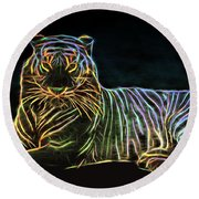 Nature Round Beach Towel featuring the digital art Panthera Tigris by Aaron Berg