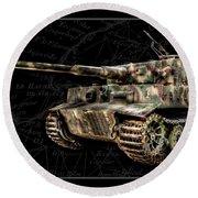 Panzer Tiger I Side Bk Bg Round Beach Towel