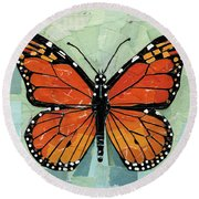 Paper Butterfly - Monarch Round Beach Towel