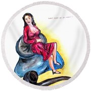 Paper Doll Round Beach Towel