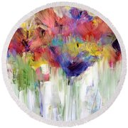 Paper Flower Painting Round Beach Towel by Lisa Kaiser