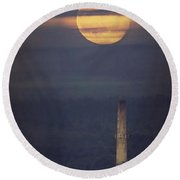Paper Mill Moon 1 Round Beach Towel