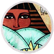 Papyrus Girl Round Beach Towel