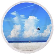 Round Beach Towel featuring the photograph Para Sailing On Siesta Key by Gary Wonning