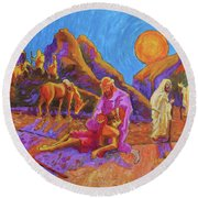 Parables Of Jesus Parable Of The Good Samaritan Painting Bertram Poole Round Beach Towel