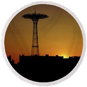 Parachute Jump Coney Island Round Beach Towel