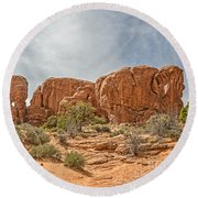 Round Beach Towel featuring the photograph Parade Of Elephants by Sue Smith