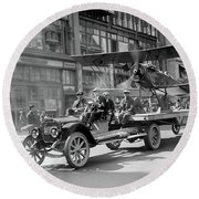 Parade Truck And Biplane Bw Round Beach Towel