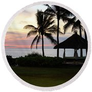 Paradise At Dusk Round Beach Towel