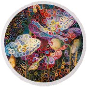 Paradise Flowers 07 Round Beach Towel