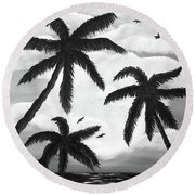 Paradise In Black And White Round Beach Towel