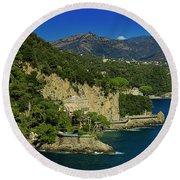Paraggi Bay Castle And Liguria Mountains Portofino Park  Round Beach Towel