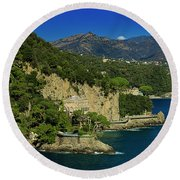 Paraggi Bay Castle And Liguria Mountains Portofino Park  Round Beach Towel