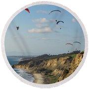 Paragliders At Torrey Pines Gliderport Over Black's Beach Round Beach Towel