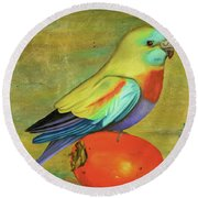 Parakeet On A Persimmon Round Beach Towel by Leah Saulnier The Painting Maniac